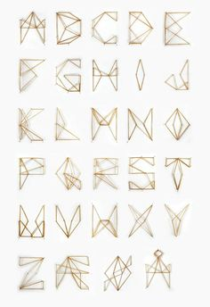 Geometric wood and string letters for kids room