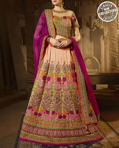 Shine Like A Diva As You Deck Up This Flared A-Line Style Semi-Stitched Wedding Special Lehenga Exclusively From Simaaya Fashions Online Store.   Shop Now: http://www.simaayafashions.com/art-silk-peach-colour-lehenga-prfa9206.html  #Wedding #Lehenga #Ethnic