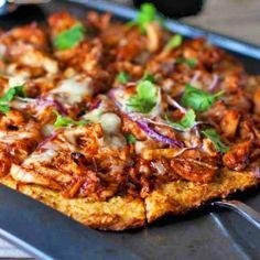 Light BBQ Chicken Pizza - 150 calories per slice! No wheat crust, it's cauliflower & a little cormeal!