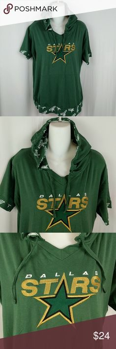 """Dallas Stars Ladies NHL Hoodie Sz XL Dallas Stars Hockey Team hoodie. Runs just a tad small so please use measurements for proper sizing. There is a tiny surface hole under the hood that you can barely see in the last picture. It's right on the seam and barely noticeable. Otherwise great condition. Chest around at underarms 44"""". Waist measures approx. 43"""" around. Bottom hem measures approx 42"""" around. See all 8 pictures for details. Smoke free. CT4 NHL Tops Sweatshirts & Hoodies"""