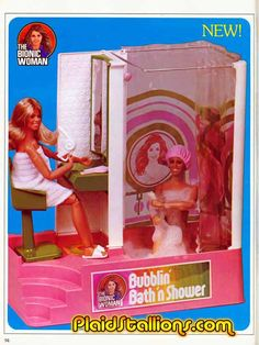 """The Bionic Woman Bubblin' Bath 'n Shower from the Kenner Toys Catalog, 1977 - This was a recycled """"Dusty"""" doll set that hadn't been produced. Vintage Barbie, Vintage Dolls, Barbie Bathroom, Barbie Playsets, Kenner Toys, Barbie Diorama, Bionic Woman, Beautiful Barbie Dolls, Barbie I"""