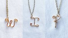 Diy wire alphabet letters/How to make wire initial pendant charms easy way/wire letters P I W Making - YouTube Wire Necklace, Wire Jewelry, Arrow Necklace, Handmade Jewelry Tutorials, Handmade Wire, Wire Letters, Alphabet Letters, Initial Pendant, Wire Wrapped Pendant