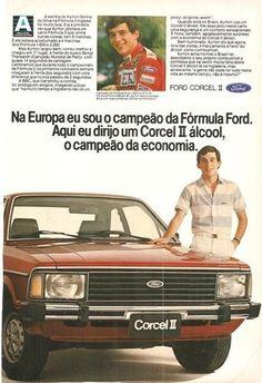 Ayrton Senna ainda corria na Fórmula 3 Inglesa.. Propaganda - Ford Cordel II