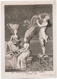 The Preposterous Head Dress, or, The Featherd Lady 1776 (Darly)