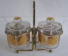 Vintage Mid Century Modern Jeannette Glass Gold Pattern Condiment Set With Caddy