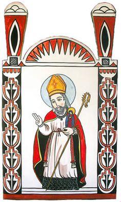 San Ildefonso, Patron Saint of San Ildefonso Pueblo.  Retablo created by Charlie Carillo. Feast Day January 23.