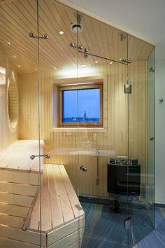 Bastu Stockholm, Bathroom Design Inspiration, Saunas, Bathroom Spa, Outdoor Pool, Corner Bathtub, Aspen, My Dream Home, Home And Living