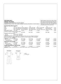Kwik Sew Sewing Pattern Misses' Button-Down Pajamas Kwik Sew Patterns, Pajama Shorts, Body Measurements, Pajamas, Button, Pjs, Pajama, Buttons, Knot
