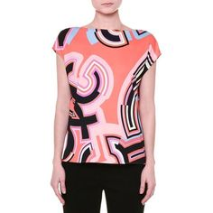 Emilio Pucci Cap-Sleeve Monogram-Print Top ($690) ❤ liked on Polyvore featuring tops, coral multi, print top, emilio pucci, slash neck top, slimming tops and bateau neckline tops