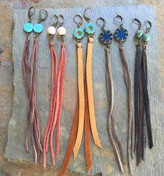 Long Boho Earrings,Long Leather Tassel Earrings,Festival Earrings,Long Simple Earrings,Leather Earrings,Real Leather Earrings