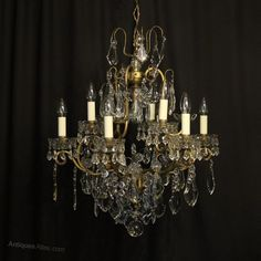 Antiques Atlas - French Gilded 10 Light Antique Chandelier Gilded, French Chandelier, Light, Glass Balusters, Crystal Chandelier, Lights, Chandelier, Ceiling Lights, Ceiling Rose