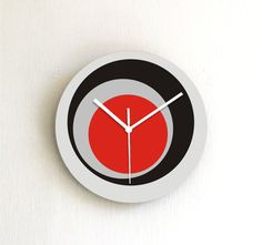 Hey, I found this really awesome Etsy listing at https://www.etsy.com/listing/167700833/wall-clock-urban-gray-black-red-circles