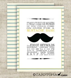 MUSTACHE BASH Boy BIRTHDAY Barber Shop Poster Style Invitation Party Digital diy Printable Cards Blue and Yellow - 85728154
