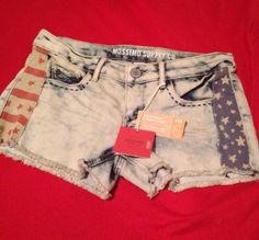 Juniors Mossimo American Flag Stars Stripes Cut-Off Denim Jean Shorts Size 7 $19.99