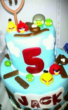 Angry Birds kids birthday cake! By Blair's Custom Cakes.