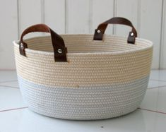 """custom coiled rope basket, 10"""" wide by 5"""" tall, personalized colors, leather handles, soft kids room toy storage bin, bathroom storage"""