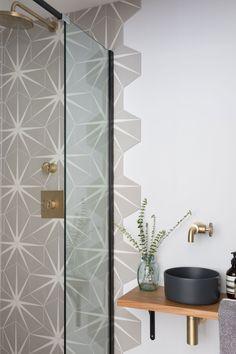 Stylish grey hexagon shaped tiles to compliment a Crittal shower cubicle and modernise this bathroom decor Childrens Bathroom, Kid Bathroom Decor, Bathroom Ideas, Bathroom Wall Tiles, Bathroom Beadboard, Ceramic Tile Bathrooms, Bathroom Hacks, Shower Bathroom, Bathroom Goals