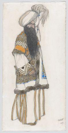 "Costume design (1919), by Léon Bakst [Левъ Самуиловичъ Бакстъ] (1866-1924), for the Sultan of Samarkand, in ""Scheherazade"" [Шехерaзада] (1888), by Nikolay Rimsky-Korsakov [Николай Андреевичъ Римскій-Корсаковъ] (1844-1908)."