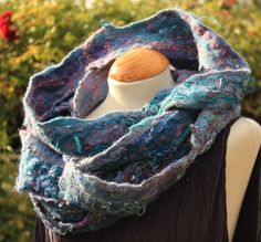 £5 off 3 days blue purple Nuno felted wool & silk cowl collar statement necklace