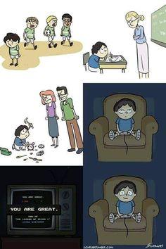 When life sucks, we turn to gaming…. When life sucks, we turn to gaming…. Sad Comics, Cute Comics, Funny Comics, Memes Humor, Funny Memes, Funny Gifs, Meaningful Pictures, Dark Art Illustrations, Sad Art