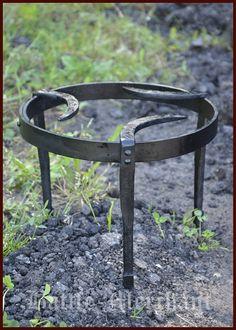 Medieval Tripod, Pan Grid, Forged Steel