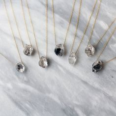 Herkimer Diamond Crystal Point Necklace Black by ShopClementine, $46.00