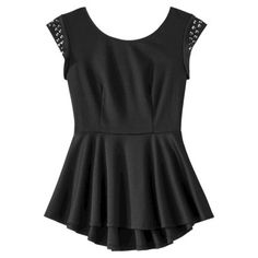 Xhilaration® Junior's Strapless Studded Shoulder Peplum Top - Assorted Colors @ Target  with the pink & black pencil skirt