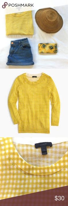 Women's Yellow Petite Tippi Sweater In Gingham Like new. The sweater you'll wear with almost everything. It's soft, flattering and layers well—and now it comes in spring-ready gingham, which we're all about these days.  Extrafine merino wool. Rib trim at neck, cuffs and hem. Length is 26. Chest is 16. J. Crew Sweaters