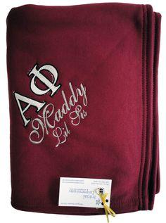 Alpha Phi Sorority - burgundy sweatshirt throw blanket