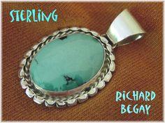 Navajo - Richard Begay - Sleeping Beauty Turquoise Native Sterling Silver Pendant - Sedona Estate Treasure by FindMeTreasures on Etsy