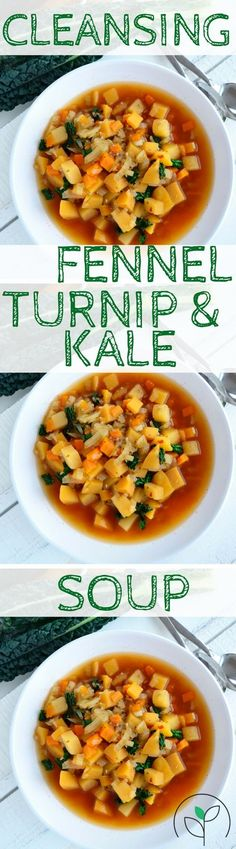 Healthy holiday recipes. detox soup, cleansing vegan soup, Cleansing Fennel Turnip and Kale Soup. Vegan, oil free and gluten free recipes.