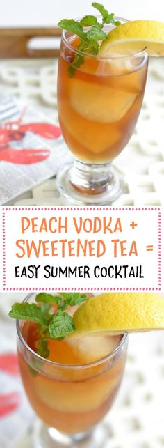 Two ingredient summer cocktail that's light, refreshing, and delicious! An easy summer cocktail made with peach vodka and sweet tea. Party Drinks, Cocktail Drinks, Fun Drinks, Cocktail Recipes, Bourbon Drinks, Drambuie Cocktails, Rumchata Cocktails, Rumchata Recipes, Margarita Recipes