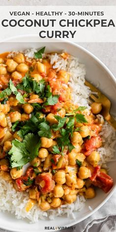 The ultimate weeknight dinner, this coconut chickpea curry is packed with flavor and comes together in less than 30 minutes with easy pantry ingredients. Indian Food Recipes, Whole Food Recipes, Diet Recipes, Cooking Recipes, Healthy Recipes, Chickpea Recipes, Vegetarian Recipes, Veg Dinner Recipes, Paleo Meals