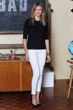 What to Wear: With White Pants // Cameron Diaz goes simple with a black sweater