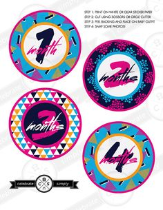 For the 80's baby.    Monthly Baby Milestone Stickers - 80s Design - INSTANT DOWNLOAD on Etsy, $5.00