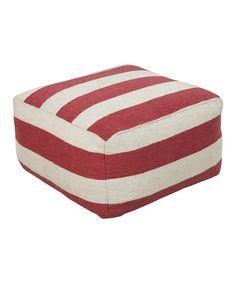 Look at this #zulilyfind! Burgundy & Ivory Stripe Wool Pouf #zulilyfinds