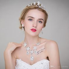 Cheap High Quality Hot Sale Wedding Bridal Crown Necklace Earring Party Jewelry Bridal Jewelry Vintage Wedding Hair Pieces Vintage Wedding Jewellery From Yelesley, $7.04| Dhgate.Com