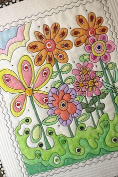 """A close-up of """"Bloomin"""". Crayon method quilting."""