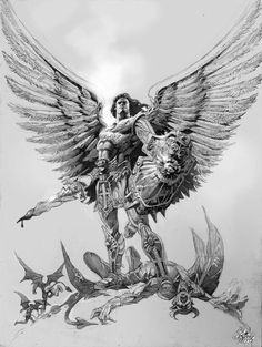 Pin by richard on sleeve tattoos archangel michael tattoo, archangel ta St. Michael Tattoo, Archangel Michael Tattoo, Tattoo Drawings, Body Art Tattoos, Sleeve Tattoos, Geniale Tattoos, Angel And Devil, Angels And Demons, Angel Art