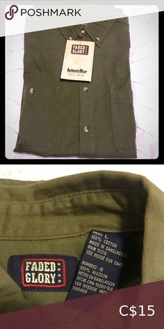 Men's Casual Dress Shirt Army style green casual dress shirt. 100% cotton New with tags and never worn.  Bundle 2+ items, save 10% and only pay one shipping fee 🥳 Faded Glory Shirts Casual Button Down Shirts Casual Shirts For Men, Casual Button Down Shirts, Button Up Shirts, Cargo Shirts, Green Dress Casual, Army Style, Mens Cargo, Faded Glory, Dress Shirt