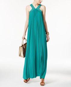 MICHAEL Michael Kors Embellished Pleated Maxi Dress | macys.com