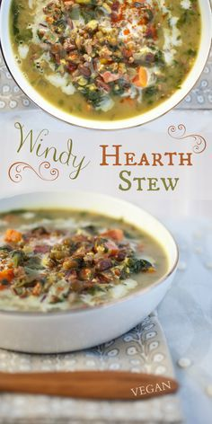 Windy Hearth Stew. vegan.  INGREDIENTS: red rice, salt, coconut oil, yellow onion, garlic cloves, ground cumin, ground savory, turmeric, frozen spinach, water, sweet potato, dried sprouted beans, kosher salt, ground black pepper, soy sauce, balsamic vinegar, can of full-fat coconut milk