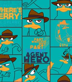 Where's Perry? Phineas & Ferb fabric