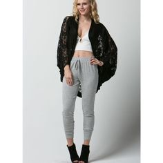 """My Secret Crush"" Lace Cocoon Cardigan Beautiful black lace cocoon cardigan. Whether layered on clothing or used as a cover up, this piece will glam you up! Brand new without tags. Runs true to size. Bare Anthology Jackets & Coats"