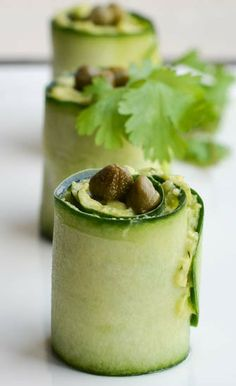 Avocado Cucumber Rolls with Capers- I would replace the capers but otherwise sounds yummy