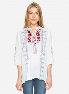 e921d05b1ac Galina 3/4 Sleeve Peasant Tunic White Border Embroidery, Vintage  Embroidery, Embroidery Designs