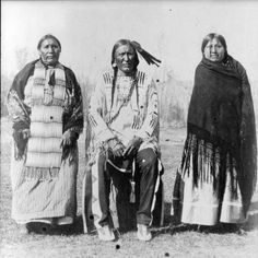 Sophie Wooden Leg (Southern Cheyenne) with her husband, Richard Wooden Leg (Northern Cheyenne) and their daughter - no date