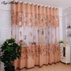 1 PC Embroidered Voile Curtains Bedroom Sheer Curtains for Living Room Tulle Window Curtains/Panels Window Screening Roman Curtains, Tulle Curtains, Floral Curtains, Curtains Living, Door Curtains, Kitchen Curtains, Blackout Curtains, Bedroom Curtains, Lined Curtains