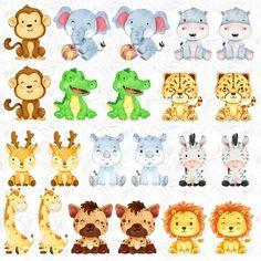 Safari Animals, Baby Animals, Cute Animals, African Animals, African Safari, Cute Animal Clipart, Baby Animal Drawings, Safari Theme, Watercolor Animals
