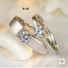 Best Wedding Couple Rings Jewelry Ideas - My Style - Ringe White Gold Wedding Bands, Silver Wedding Rings, Diamond Wedding Bands, Wedding Jewelry, Silver Ring, Silver Earrings, Wedding Ring For Men, Trendy Wedding, Stud Earrings